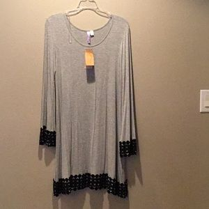 Gray dress with bell sleeves